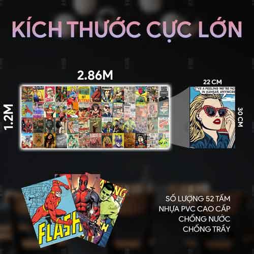 Bộ 52 sticker decal dán tường vintage comic truyện tranh xưa các nhân vật Hulk, Flash, Deadpool trang trí phòng phong cách vintage, retro.