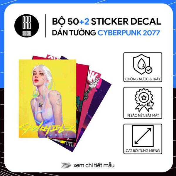 Ảnh bìa bộ 50 sticker decal dán tường cyberpunk 2077