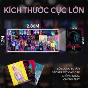 Kích thước tấm sticker dán tường cyberpunk 2077
