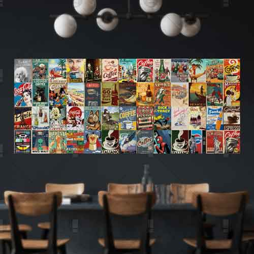 Bộ 52 sticker decal dán tường cafe vintage stickeraz