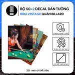 Bộ 52 sticker decal dán tường quán bida vintage quán billard bi-a phong cách xưa