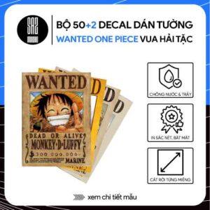 Bộ 52 decal dán tường wanted one piece poster truy nã vua hải tặc