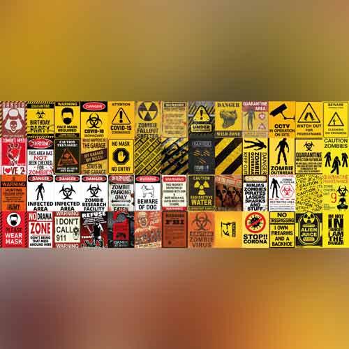Bộ 52 sticker decal dán tường warning zone biển cảnh báo stickeraz