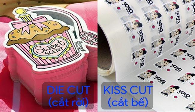 Phân biệt sticker die cut (cắt rời) vs sticker kiss cut (cắt bế)